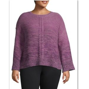 Style & Co Macys Plus Marled Ombré Braided Sweater